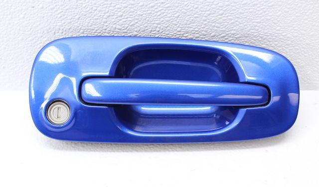 Blue subaru door handle