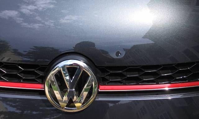 VW hood dent