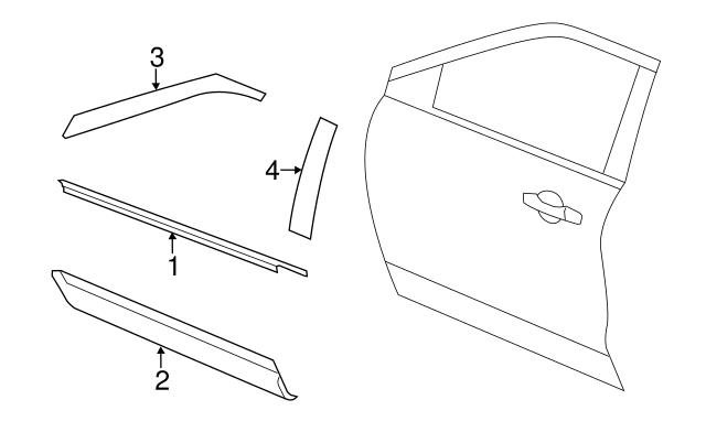 Ford door moldings diagram